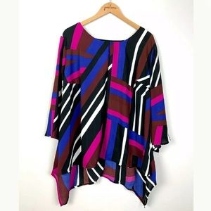New Directions Colorful Striped Top Plus